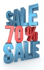 Concept of sale. Discount  percent off. 3D illustration.