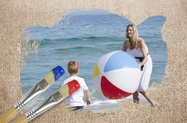 Composite image of mother and son on the beach