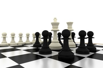 White king and queen surrounded by black pawns