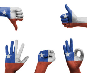 Hand set with the flag of Chile
