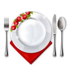 6 Plate with spoon, knife and fork