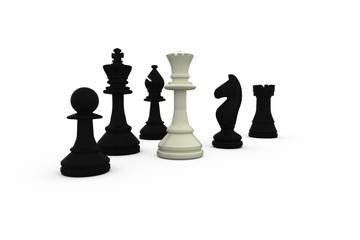 White queen standing with black pieces