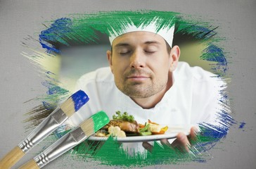 Composite image of chef smelling his dish