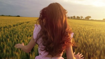 Beautiful Female Model Vintage Hippy Dress Slow Motion Field