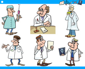 cartoon medical staff characters set