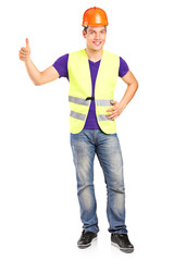 Male construction worker giving a thumb up