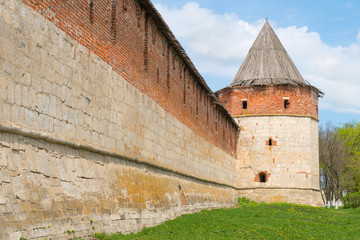 Historical town Zaraysk in Russia, tower of medieval fortress