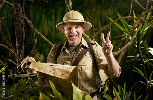 Successful adventurer in the jungle