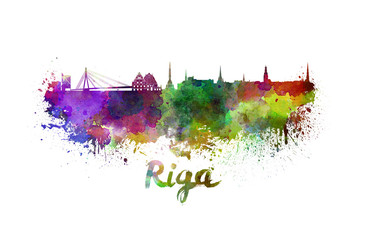Riga skyline in watercolor