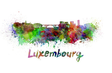 Luxembourg skyline in watercolor