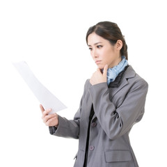 business woman holding file document paper