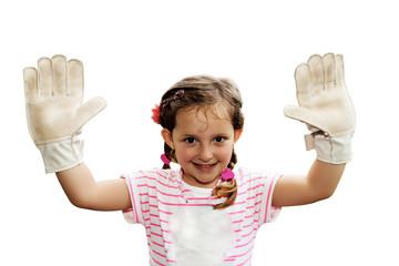 Kleines Mädchen spielt Torwart
