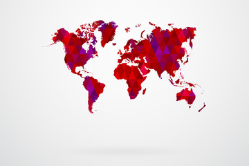 Purple Mosaic Tiles World Map Vector Illustration Abstract
