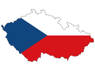 Vector map with the flag inside - Czech.