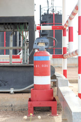 old fire extinguishers install st site in  processing plant