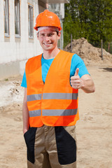 Builder showing okay gesture