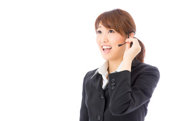 asian businesswoman with headset on white background