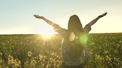 Young Empowered Woman Success Worship Pose Joy Happiness