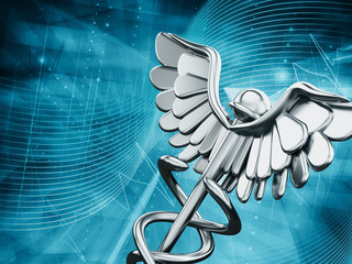 Medicine symbol on blue background