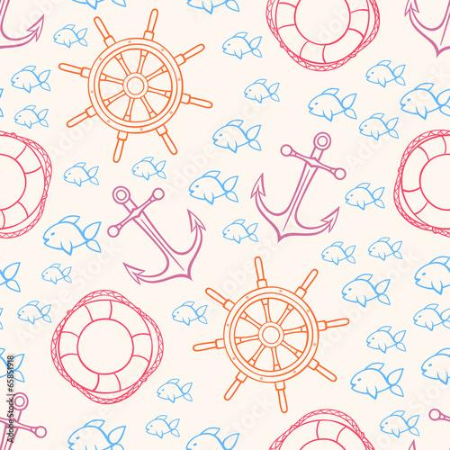 Fototapeta cute seamless marine background
