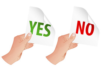 Hand with Yes and No Signs