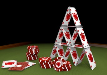 3d render of a balanced protection sign  on the casino table