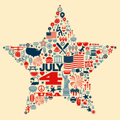 4th of July icon collage illustration T-shirt design