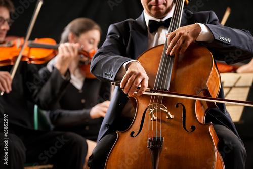 Leinwanddruck Bild String orchestra performance