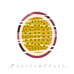 Vector of fruit, passion fruit icon on isolated white background