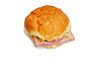 Top View of a Ham and Cheese Sandwich on an Onion Roll