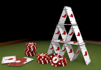 3d graphic of a balanced Austria symbol  on the casino table