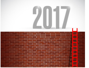 ladder to year 2017. illustration design