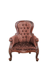 Vintage brown silk cloth chair isolated