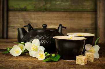 Asian tea set with jasmine