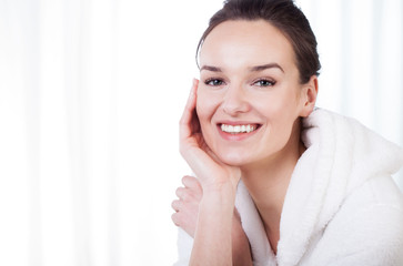 Smiling lady in spa
