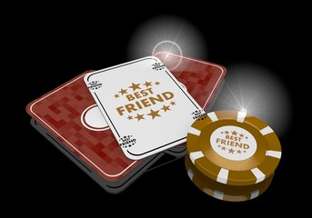 3d graphic of a posh best friend icon  on poker cards