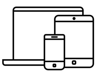 Phone, tablet and laptop vector icon