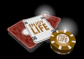 Illustration of a golden enjoy life icon  on poker cards
