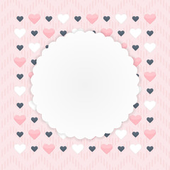 Greeting card with hearts over pink