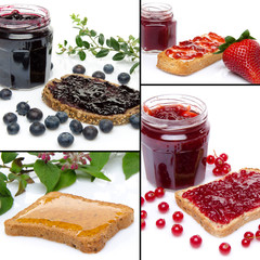 Collage of differents compositions with toasts, fruits and jam