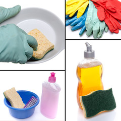 Collage with different cleaning products