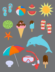 Set of Summer Fun Objects