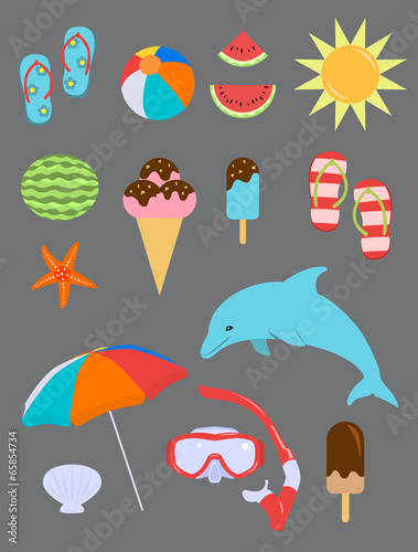 Set of Summer Fun Objects