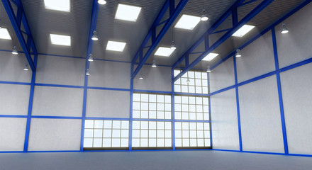 Interior of a empty warehouse with blue colour construction
