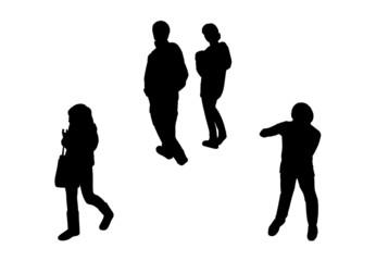 people walking top view silhouettes set 6