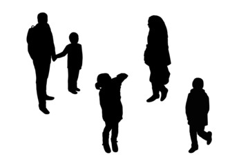 people walking top view silhouettes set 5