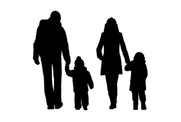 family walking outdoor silhouettes set 1