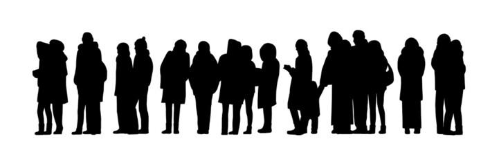 long people queue silhouette set 2