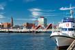 Leinwanddruck Bild - Landeshauptstadt Kiel an der Hörn mit Klappbrücke - 0442