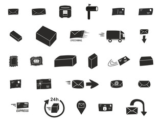 27 Post Icons - Modern in schwarz weiß